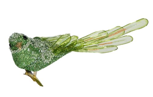 8″ Elegant Apple Green Beaded Clip-On Bird Figure Christmas Ornament