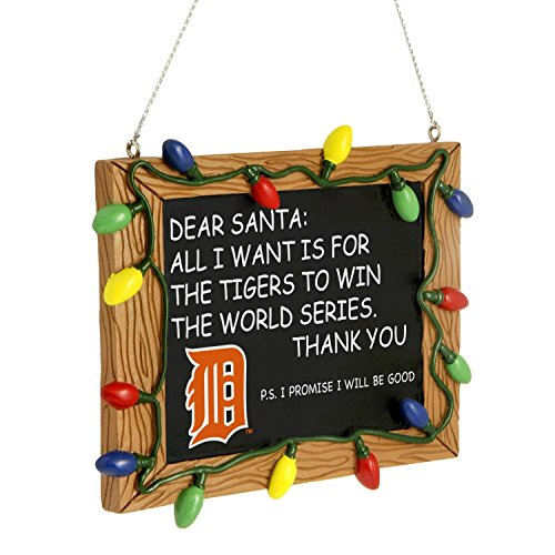 Detroit Tigers Official MLB 3 inch x 4 inch Chalkboard Sign Christmas Ornament