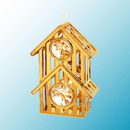 24k Gold Bird House/Cuckoo Clock Ornament – Clear Swarovski Crystal