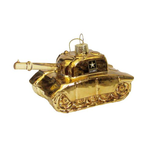 Kurt Adler 5-Inch Glass US Army Tank Figural Ornament