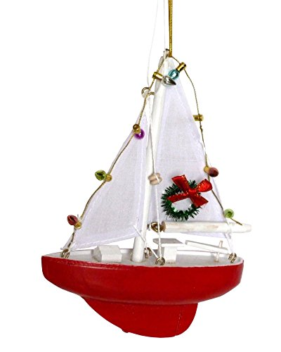 Sailboat with Lights and Wreath Christmas Ornament – Holiday Nautical Beach Decor
