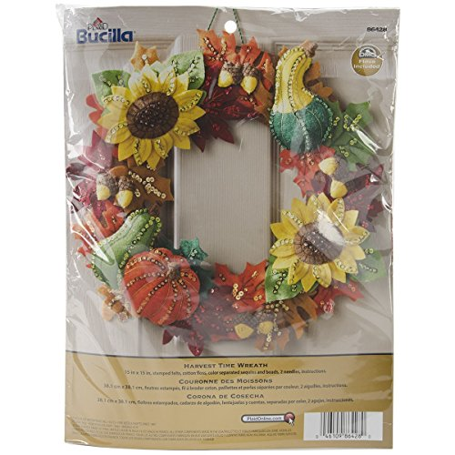 Bucilla Harvest Time Wreath Felt Applique Kit-15″ Round
