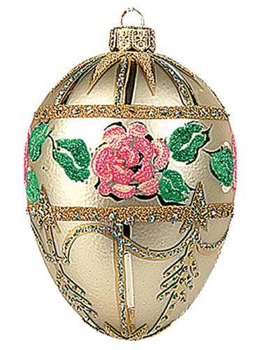 Faberge Inspired White Bouquet Egg Polish Mouth Blown Glass Christmas or Easter Ornament