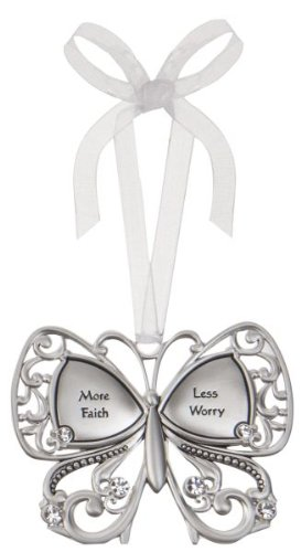 More Faith Less Worry Butterfly Silver & Crystal Filigree Ornament