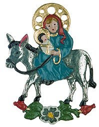 Mary & Jesus on Donkey German Pewter Christmas Ornament