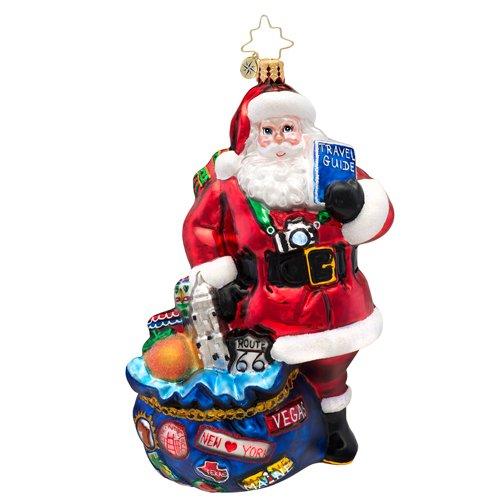 Christopher Radko I've Been Everywhere Traveling Santa Glass Christmas Ornament 2014