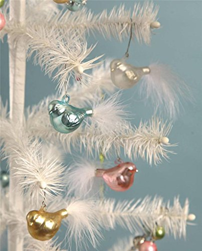 Bethany Lowe 4 Chubby Bird Ornaments-Pink, Blue, White, Yellow