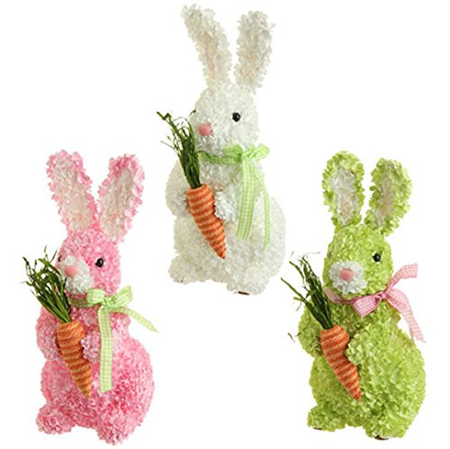 RAZ Imports – Easter / Spring Pink Hydrangea Bunny with Carrots (Pink)