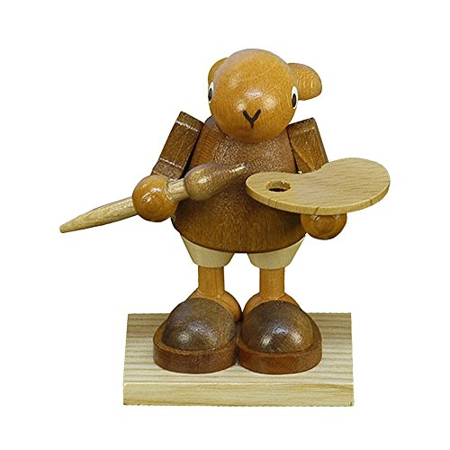Alexander Taron Christian Ulbricht Ornament Bunny Painter With Paint Pallette in natural Wood Finish 2.5″H x 2.25″W x 2″D