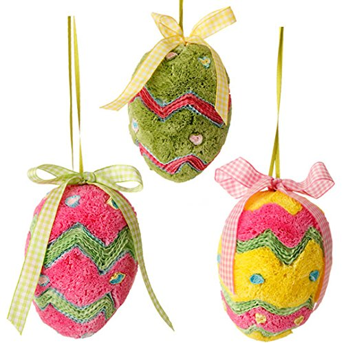 RAZ Imports Set of 3 Eggs 4.5″ Easter Egg Ornaments – Set of 3