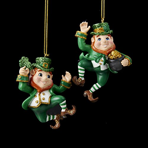 3.25-3.5″ Resin Dancing Leprechaun Ornament 2/asstd.