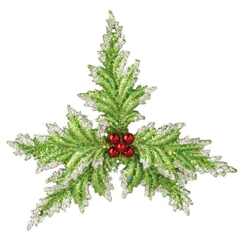 RAZ Imports – Glittering Green Holly Ornament 6″
