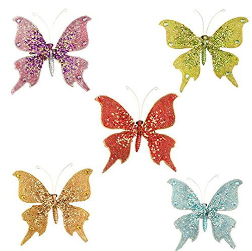 RAZ Imports – 4.5″ Butterfly On Clip Ornaments – Set of 5