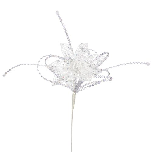 Vickerman 31726 – 15″ White Iridescent Glitter Poinsettia Sequin Loops Spray (J131401)