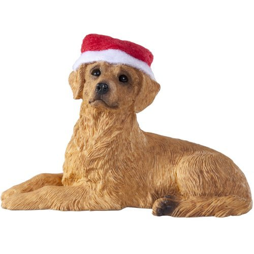 Sandicast Golden Retriever with Santa Hat – Laying Down