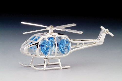 Helicopter Silver Plated Swarovski Crystal Ornament Fig