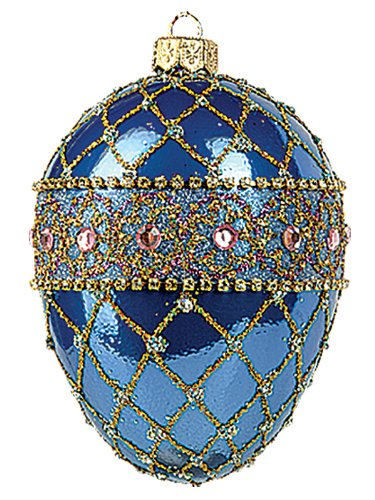 Faberge Inspired Blue Renaissance Egg Polish Mouth Blown Glass Christmas or Easter Ornament
