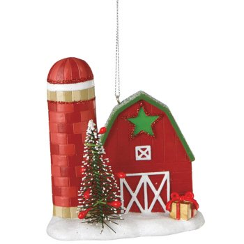 Barn with Silo Ornament