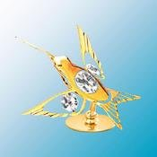 24K Gold Plated Curvd Beak Hummingbird Free Standing – Clear – Swarovski Crystal