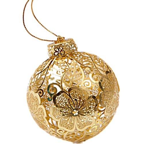 Metal Ornament Ball HIBISCUS GOLD
