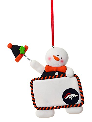 Claydough Snowman with Sign Ornament, Denver Broncos