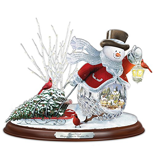 Thomas Kinkade Crystal Snowman Bringing Home The Christmas Tree Musical Sculpture by The Bradford Exchange