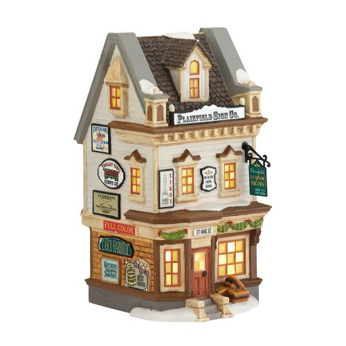 Department 56 New England Village Plainfield Sign Co. Lit House, 7.21-Inch