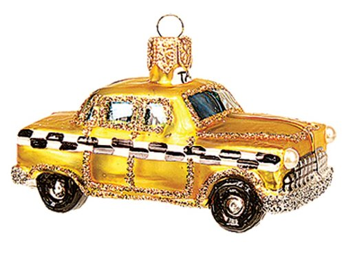 Miniature New York City Taxi Polish Mouth Blown Glass Christmas Ornament