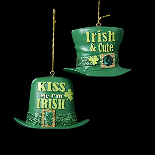 "2.25″ Resin Irish Hat Ornament 2/asstd: ""irish & Cute"" & ""kiss ME IM Irish."""