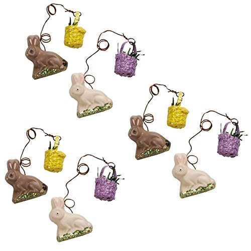 Bitsy Bunnies With Baskets Easter Ornaments Boxed Set of 6