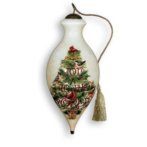 Ne'Qwa Art Joy To The World Tree – New for 2012 – Glass Ornament Hand-Painted Reverse Painting Distinctive 751-NEQ
