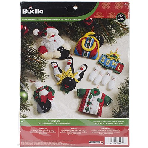 Bucilla Bowling Santa Ornaments Felt Applique Kit-3-1/2″X4″ Set Of 6