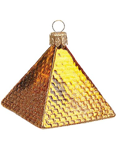 Mini Egyptian Pyramid Polish Mouth Blown Glass Christmas Ornament