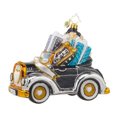 "Christopher Radko Gift on the Way Wedding Car Christmas Ornament – ""Just Married"" on Back of Car"