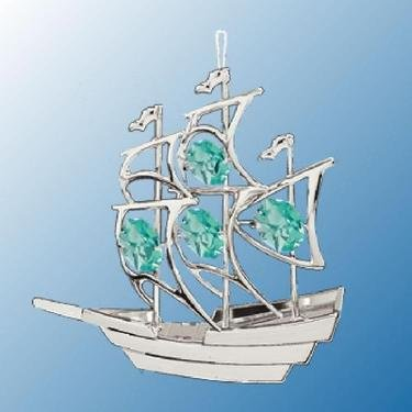 Chrome Sailboat Ornament – Green Swarovski Crystal