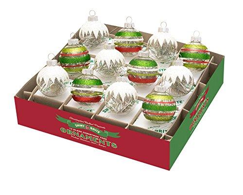 RADKO Shiny Brite Holiday Splendor Mini Ice Caps with Tinsel Christmas Ornaments