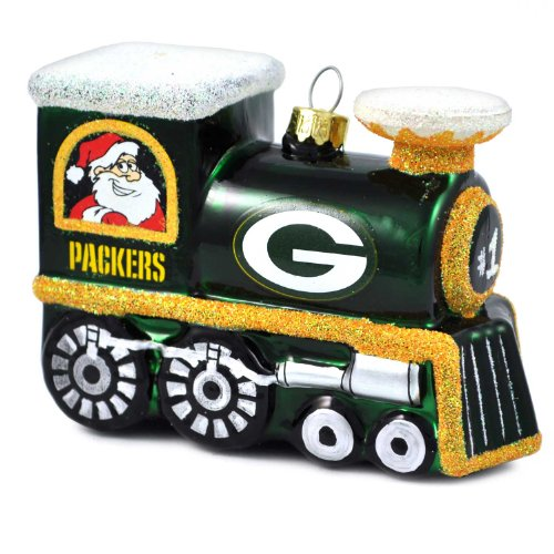 NFL Green Bay Packers Blown Glass Train Ornament