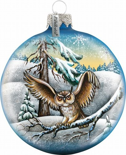 G. Debrekht Owl Ball Ornament, Hand-Painted Glass, 3-1/2-Inch, Includes Satin Ribbon for Hanging