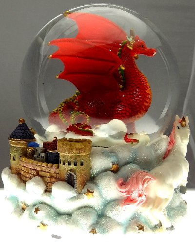 Ruby Red Dragon with Mystic White Unicorn and Castle in the Clouds Snow Globe – Sculptured Resin Water Ball Music Box 5 3/4″ High