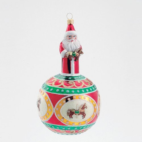 CAROUSEL HORSE SANTA CLAUS Glass Ornament Made in Poland David Strand