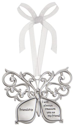 Friendship Butterfly Silver & Crystal Filigree Ornament