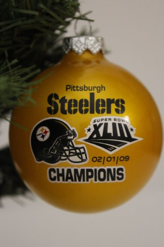 Pittsburgh Steelers NFL Super Bowl XLIII Traditional 2 3/4″ Glass Christmas Tree Ornament