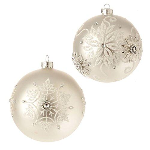 RAZ Imports – 4″ Snowflake Ball Ornaments – Set of 2