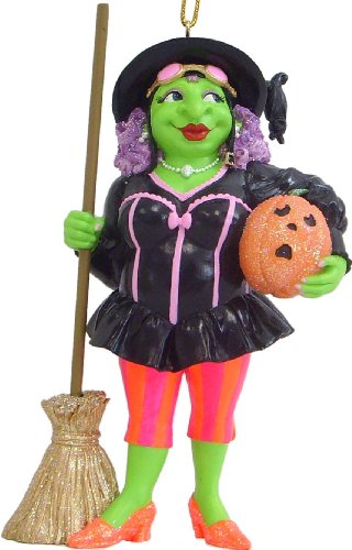 "December Diamonds ""Wicked"" Green Witch ""Missy Envy"" Witch Halloween Ornament- A Retired Collector's Item!!!"