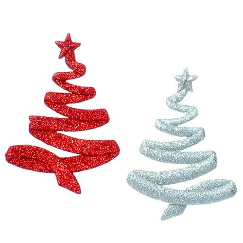 RAZ Imports – Silver and Red Glittering Tree Ornaments 5″