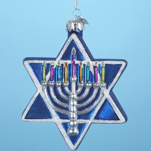 Kurt Adler 4-1/2-Inch Noble Gems Glass Jewish Star Ornament