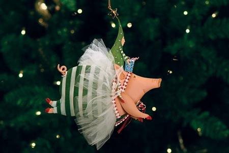 Patience Brewster Tin Joyful Flying Pig Ornament – Krinkles Christmas Décor New 08-30429