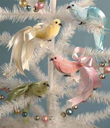 Bethany Lowe Velveteen Birds, Set of 4-Pink, Blue, Green, and White