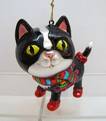 December Diamonds Blown Glass Ornament – Black Cat with Multi Color Scarf