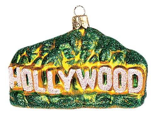 Hollywood Sign California Polish Mouth Blown Glass Christmas Ornament